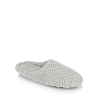 Lounge & Sleep textured - Pale grey waffle textured Sleep mules slippers 4026b2