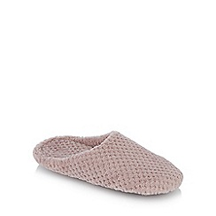 Lounge & Sleep - Taupe waffle textured mules slippers