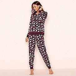 Lounge & Sleep - Dark purple animal print 'Woodland' jersey pyjama set