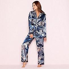 The Collection - Navy floral print 'Empress' satin pyjama set