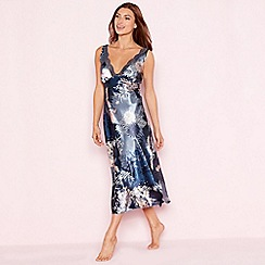 The Collection - Navy floral print lace trim 'Empress' satin nightdress