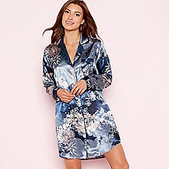 The Collection - Navy floral print 'Empress' satin nightshirt