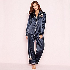 The Collection - Navy floral embroidered 'Empress' satin pyjama set