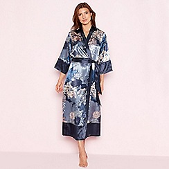 The Collection - Navy floral print 'Empress' satin dressing gown