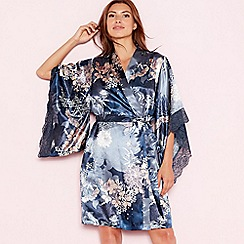 The Collection - Navy floral print 'Empress' satin lace dressing gown