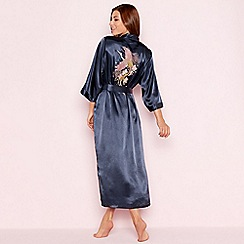The Collection - Navy floral embroidered 'Empress' satin dressing gown