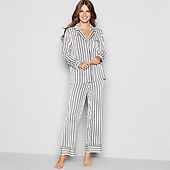 J by Jasper Conran - Cream stripe print satin long sleeve pyjama set