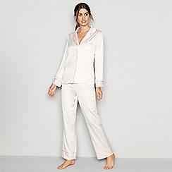 J by Jasper Conran - Pale pink satin 'Lizzie' long sleeve pyjama set