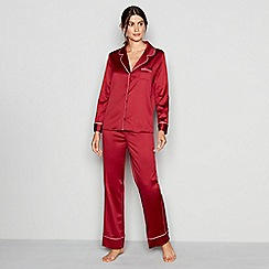J by Jasper Conran - Dark red satin 'Lizzie' long sleeve pyjama set