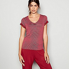 J by Jasper Conran - Dark red lace trim jersey 'Lizzie' pyjama top