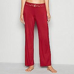 J by Jasper Conran - Dark red lace trim jersey 'Lizzie' pyjama bottoms