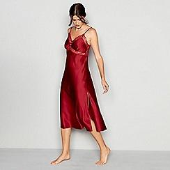 J by Jasper Conran - Dark red lace trim satin 'Lizzie' nightdress