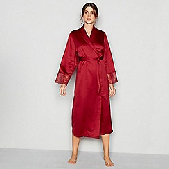 J by Jasper Conran - Dark red lace trim satin  Lizzie  dressing gown a4ca439e0