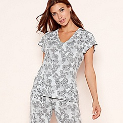 Lounge & Sleep - Grey lace floral print V-neck pyjama top