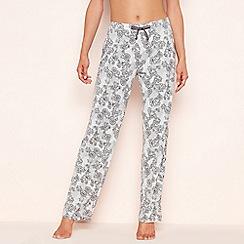 Lounge & Sleep - Grey lace floral print pyjama bottoms