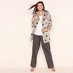 Lounge & Sleep - 3 Piece grey star print cardigown loungewear set