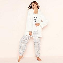 Lounge & Sleep - 3 Piece cream bear cardigown loungewear set