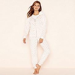 Lounge & Sleep - Pink foil spot print fleece pyjama set