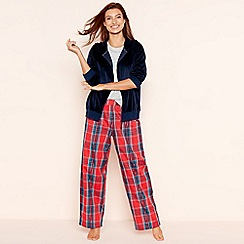 Lounge & Sleep - Navy check print velour loungewear set
