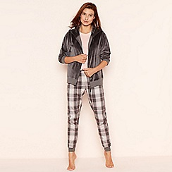Lounge & Sleep - Dark grey check print velour loungewear set