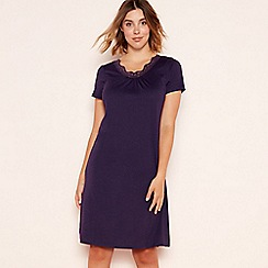 Lounge & Sleep - Purple plain cotton blend nightdress
