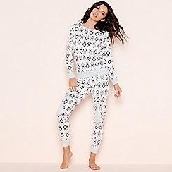 Lounge & Sleep - White 'Penguin' print cotton pyjama set