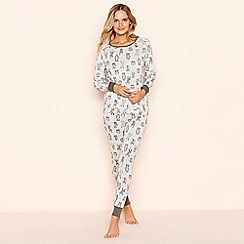 Lounge & Sleep - Grey animal print cotton pyjamas