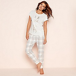 Lounge & Sleep - Grey check print cotton blend 'Lazy Days' pyjama set
