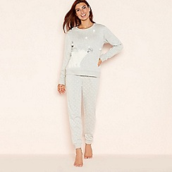 Lounge & Sleep - Grey cotton blend 'Princess Polar Bear' long sleeve pyjama set