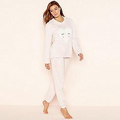 Lounge & Sleep - Pink fluffy heart long sleeve nightwear set