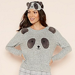 Lounge & Sleep - Grey 'Panda' applique pyjama set with eye mask