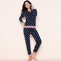 Lounge & Sleep - Navy 'Stella' star print cotton pyjama set