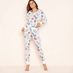 Lounge & Sleep - White cotton blend 'Stella Polar Bear' pyjama set