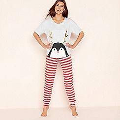 Lounge & Sleep - Grey cotton blend 'Penguin' pyjama set