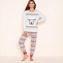 Lounge & Sleep - Light grey 'Flashing Reindeer' cotton rich pyjama set