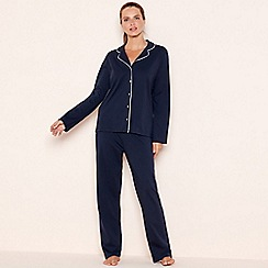 Lounge & Sleep - Navy cotton 'The Essential' long sleeve pyjama set