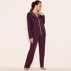 Lounge & Sleep - Dark red spot print cotton 'The Essential' long sleeve pyjama set