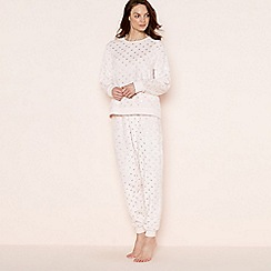 Lounge & Sleep - Light pink foil heart print pyjama set with eye mask