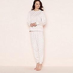 Lounge & Sleep - Light pink foil heart print pyjama set with eye mask