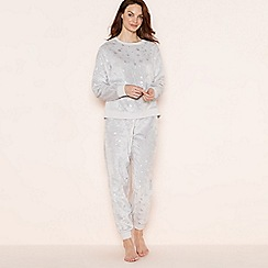 Lounge & Sleep - Light grey scatter star pyjama set with eye mask