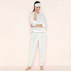 Lounge & Sleep - White Leopard Print 'Warm & Cosy Wishes' Fleece Pyjama Set