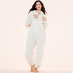 Lounge   Sleep - Cream sparkle fleece hooded onesie 15773d57e557