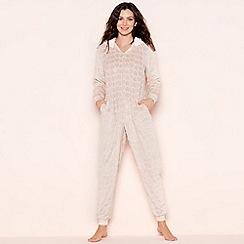 Lounge & Sleep - Pink foil heart fleece onesie