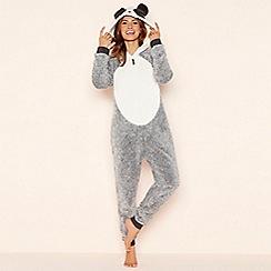 Lounge & Sleep - Grey fleece 'Panda' hooded onesie