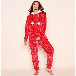 Lounge & Sleep - Petite red fair isle print fleece hooded onesie