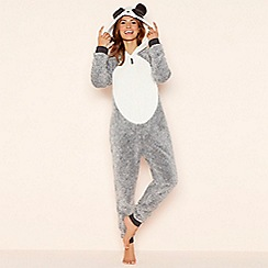 Lounge & Sleep - Petite grey fleece 'Panda' hooded onesie