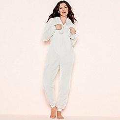 Lounge & Sleep - Petite cream sparkle fleece hooded onesie