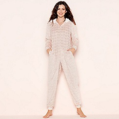 Lounge & Sleep - Petite pink foil heart fleece onesie