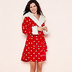 Lounge & Sleep - Red spot print hooded dressing gown