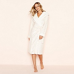 Lounge & Sleep - Pink foil heart embossed fleece hooded dressing gown